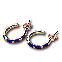 18K Gold Zebra Hoop Hanging Earrings