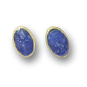 18K Gold Mini Oval Single Stone Post Earrings