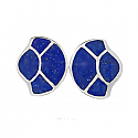 Sterling Silver and Lapis Lazuli Art Deco Fan Earrings