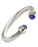 Sterling Silver, 18K Gold and Lapis Lazuli Cuff Bracelet