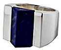 Sterling Silver and Lapis Lazuli Pyramidal Thick Band Ring