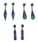 Pierced Sterling Silver Hanging Earrings - Lapis Lazuli and Malachite