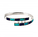 Sterling Silver, Lapis Lazuli and Turquoise Hinged Cuff Bracelet