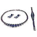 Rectangular Lapis Lazuli and Malachite Sterling Silver Set