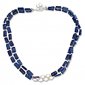 Sterling Silver, Lapis Lazuli and Water Pearls Beaded Necklace