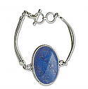 Sterling Silver and Oval Lapis Lazuli Cabochon Toggle Bracelet