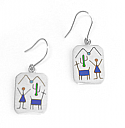 Sterling Silver Rectangular Diaguitas Hanging Earrings