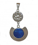 Sterling Silver and Lapis Lazuli Hammered Pendant