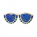Sterling Silver, Lapis Lazuli and Malachite Art Deco Shell Earrings