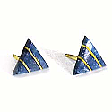 18K Gold Triangular Division Post Earrings