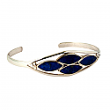Sterling Silver and Lapis Lazuli Open Cuff Bracelet
