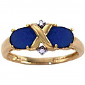18K Gold, Lapis Lazuli and Diamonds Cross Promise Ring