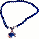 Bead Necklace with Relieved Inlayed Charm
