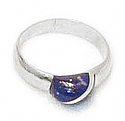 Grain Half Moon Sterling Silver Ring