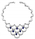 """Lapis Lazuli and Sterling Silver """"Waves"""" Necklace"""
