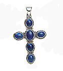 Sterling Silver and Lapis Lazuli Cross
