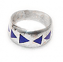 Triangular Inlayed Sterling Silver Band Ring
