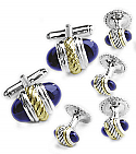 Sterling Silver and 18K Gold Cufflinks & Studs Set