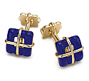 18K Gold Wrapped Cuff links with Inlaid Lapis Lazuli