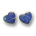 18K Gold Heart Single Stone Post Earrings