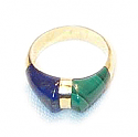 18K Gold Two Stone Sculpted Ring
