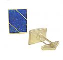Lapis Lazuli and 18K Gold Rectangular Division Cuff Links