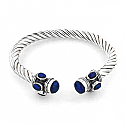 Sterling Silver & Lapis Lazuli Cable Bangle Bracelet