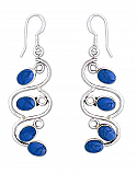 Sterling Silver and Lapis Lazuli Ivy Hanging Earrings