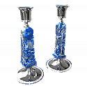 Silver Plated Square Lapis Lazuli Candle Holders
