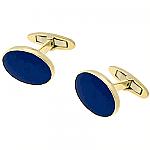 18K Gold Oval Lapis Lazuli Cuff Links