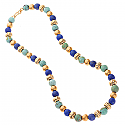 Etruscan Lapis Lazuli. Turquoise and Gold Vermeil Bead Necklace