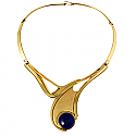 Art Deco Lapis Lazuli and Gold Vermeil Single Round Cabochon Necklace