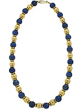 Etruscan Lapis Lazuli and 18K Gold Bead Necklace
