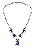 Sterling Silver and Lapis Lazuli Oval Medallion Semicollar