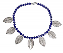 Native Lapis Lazuli Beads with Sterling Silver Leaves Necklace