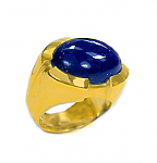 18K Gold and Oval Lapis Lazuli Cabochon Ring