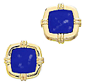 Lapis Lazuli and 18K Gold Square Cuff LInks with Raised Details