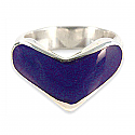 Sterling Silver and Lapis Lazuli Heart Cocktail Ring