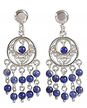 Sterling Silver and Lapis Lazuli Long Chandelier Earrings