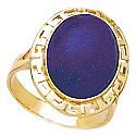 18K Gold and Lapis Lazuli Greek Key Ring