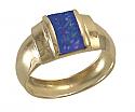 18K Gold Bar Lapis Lazuli Ring