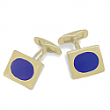 Lapis Lazuli and 18K Gold Rectangular Cuff Links with Oval Stone