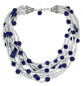 Fresh Water Pearl and Lapis Lazuli Beads Necklace