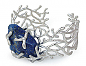 Lapis Lazuli and Sterling Silver Seaweed Cabochon Cuff