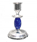 Silver Plated Rounded Lapis Lazuli Candle Holder