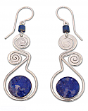 Lapis Lazuli and Sterling Silver Swirl Earrings