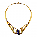 Art Deco Lapis Lazuli and Gold Vermeil Single Cabochon Necklace