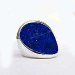 Sterling Silver and Lapis Lazuli Art Deco Solitaire Ring