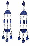 Sterling Silver and Lapis Lazuli Araucan Chandelier Earrings