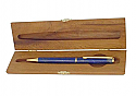 Gold Plated Lapis Lazuli Ballpoint Pen in Wood Box